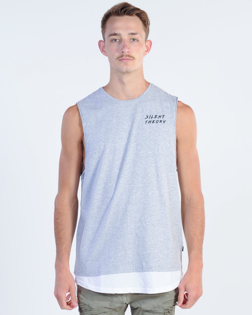 Silent Theory Y Muscle Top - Grey Marle