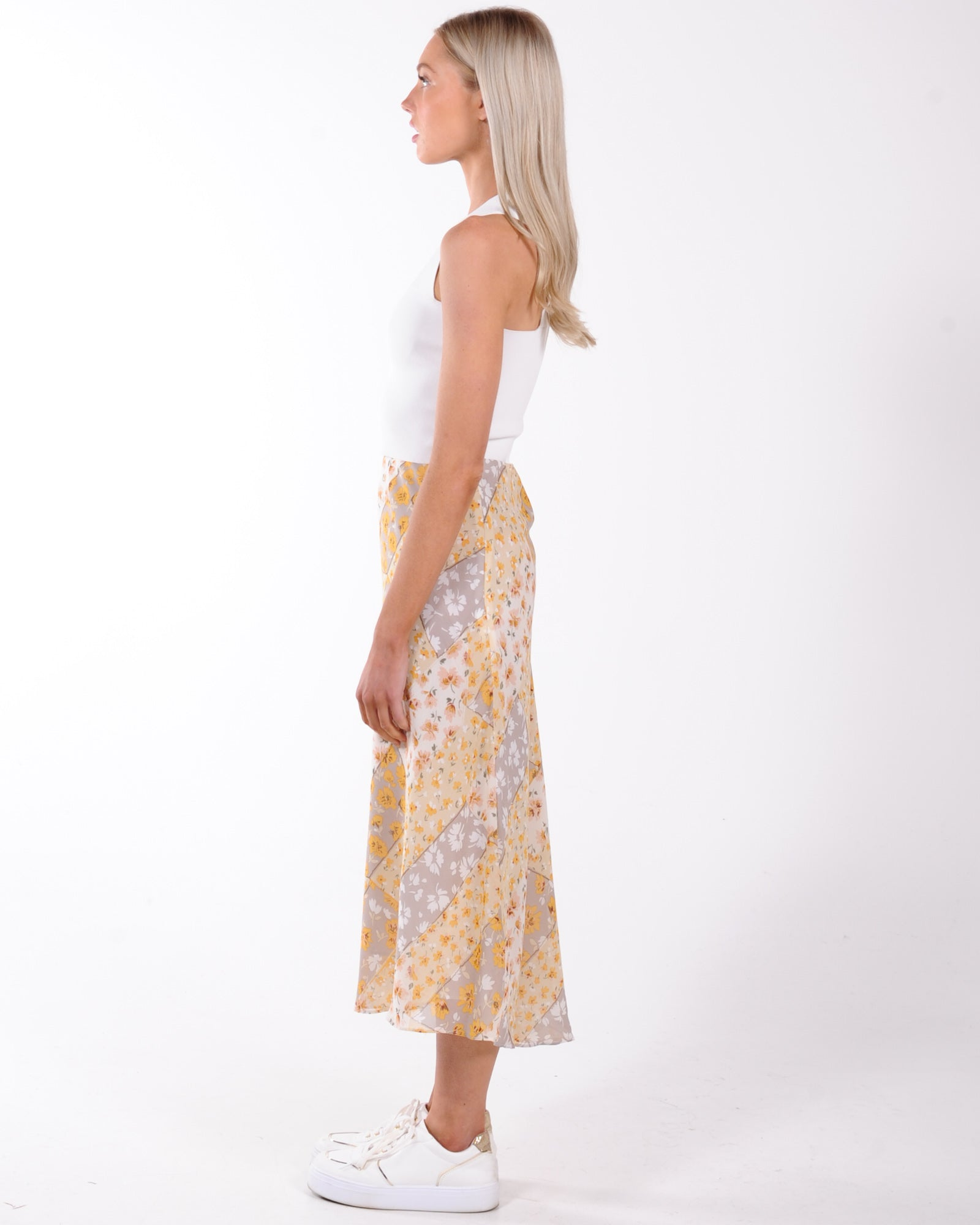By Your Side Floral Midi Skirt - Yellow
