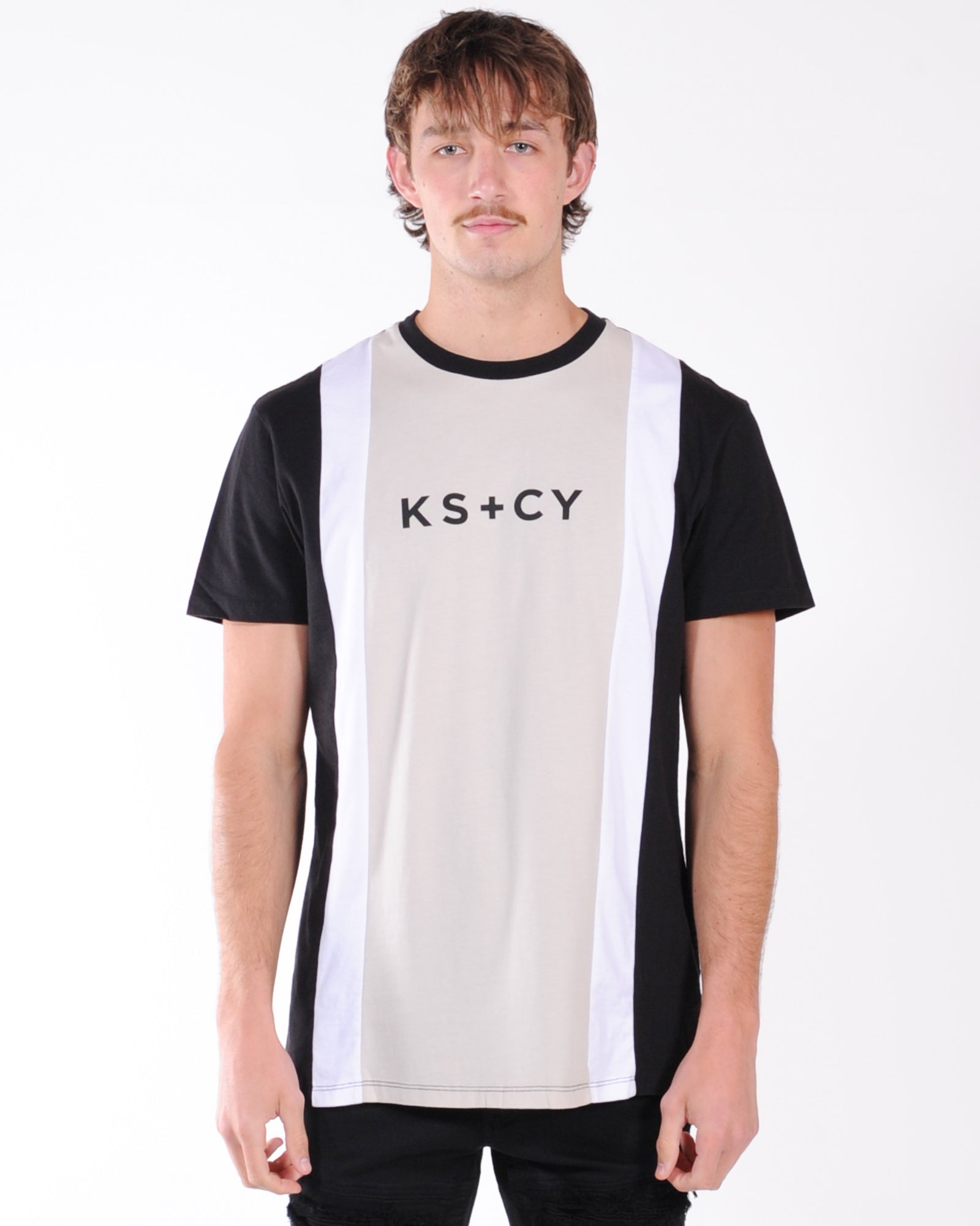 Kiss Chacey Malone Relaxed Tee - Black/White/Stone