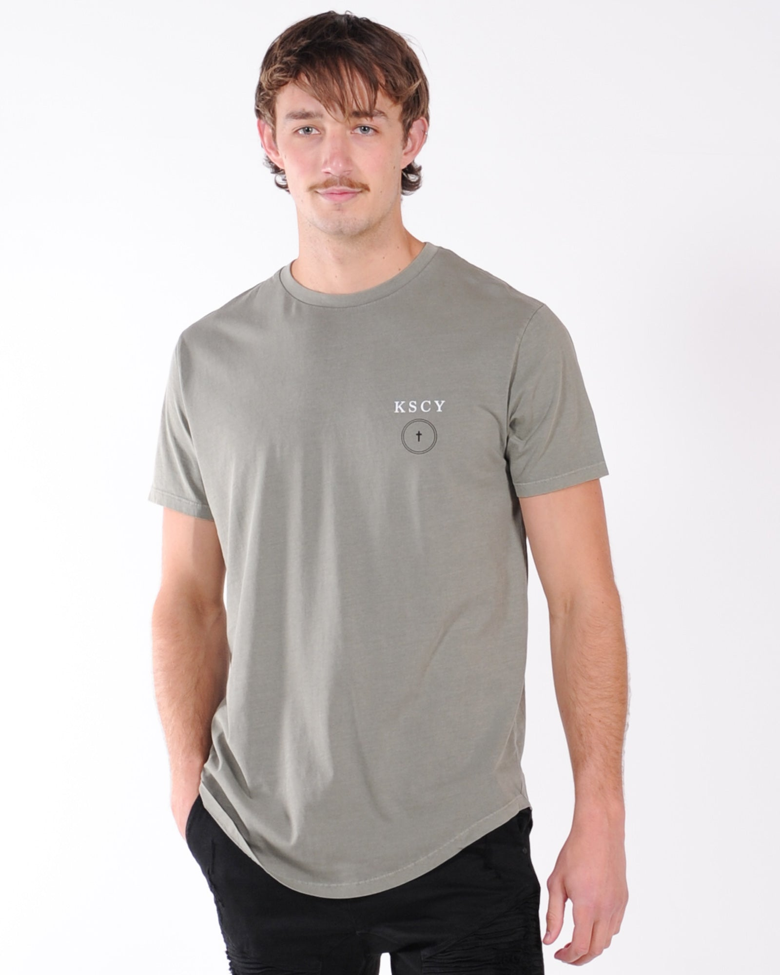 Kiss Chacey Sun Shadow Dual Curved Tee - Pigment Khaki