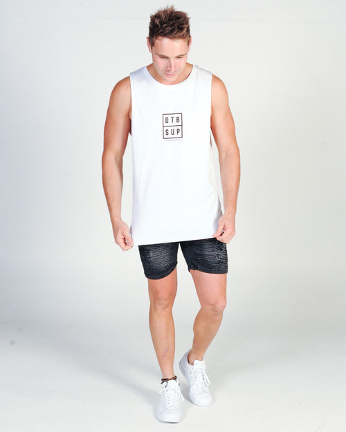 DTB SUPPLY BARRICADE MUSCLE TOP - WHITE