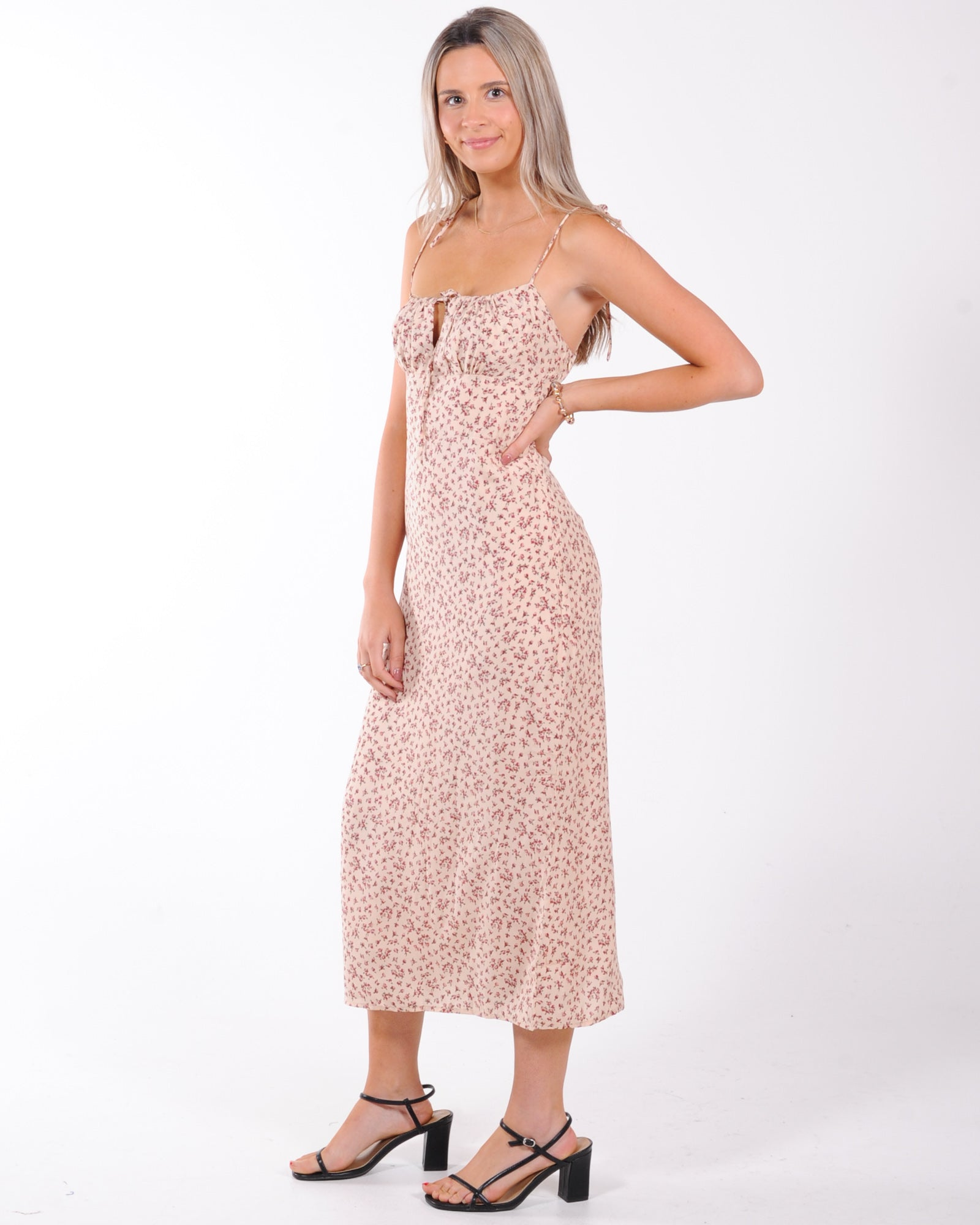 Summer Days Floral Midi Dress - Beige Floral