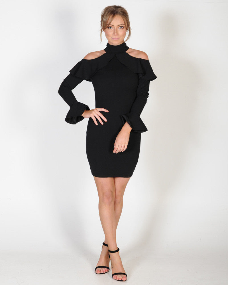 TIME OUT L/S DRESS - BLACK