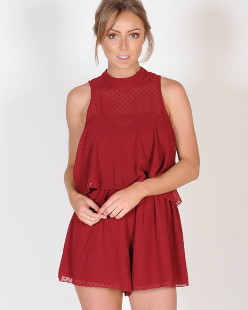 THE FIFTH LABEL SWEET MEMORIES PLAYSUIT - RUBY