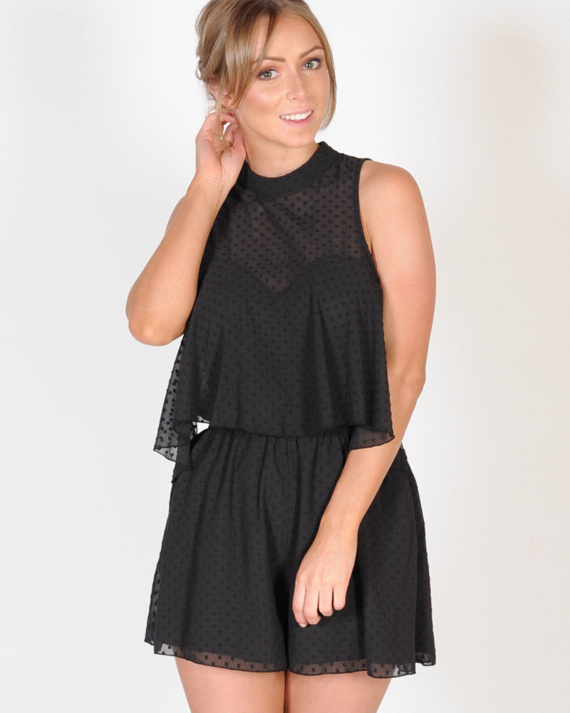 THE FIFTH LABEL SWEET MEMORIES PLAYSUIT - BLACK