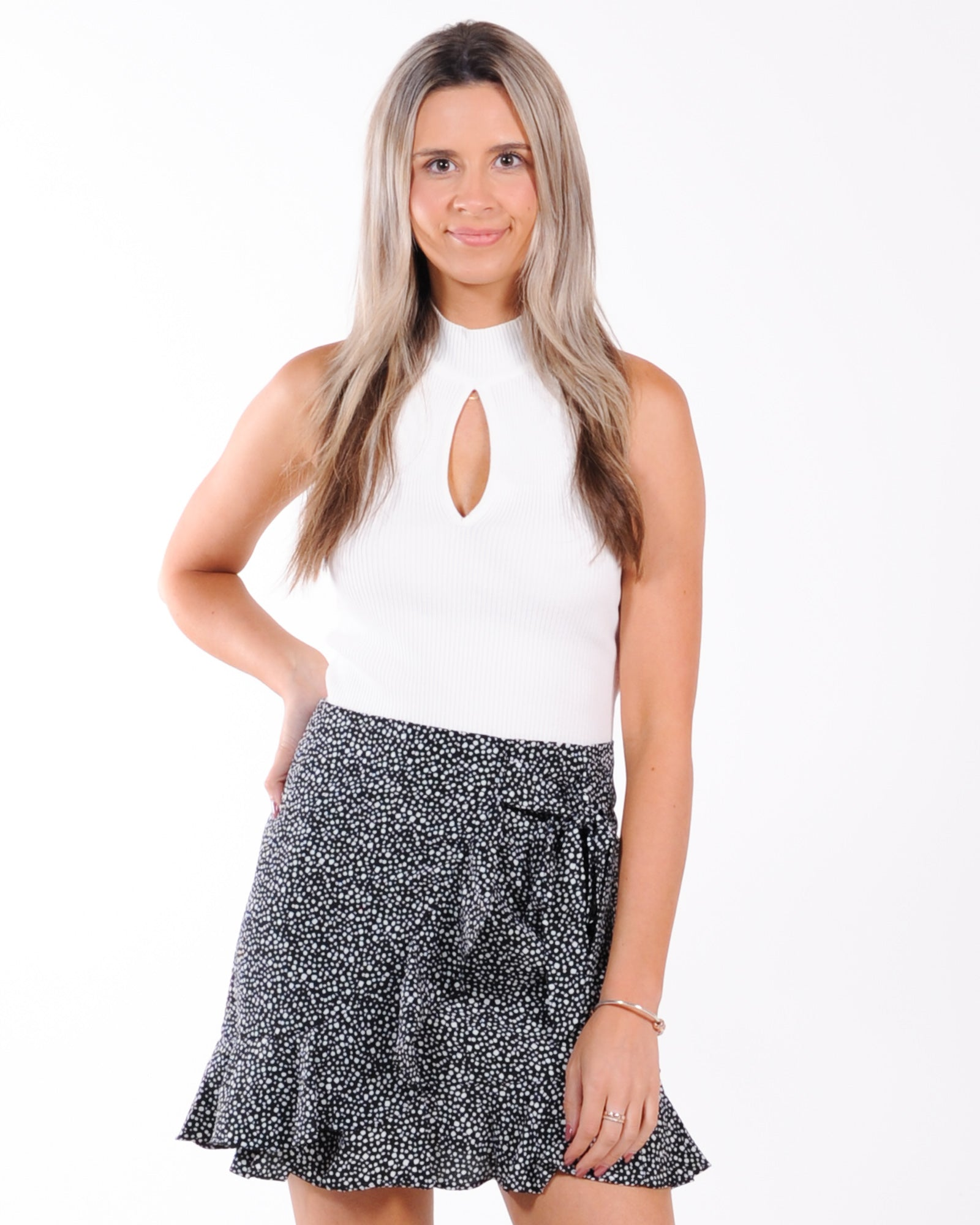Lets Celebrate Keyhole Knit Top - White