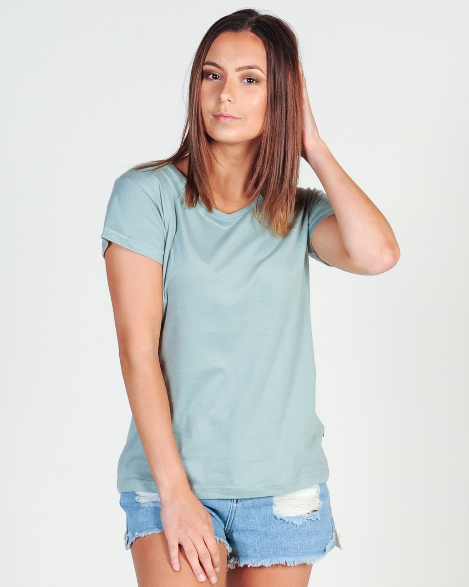 SILENT THEORY POLLY TEE - DUSTY GREEN