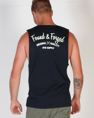 DTB SUPPLY GARAGE SCRIPT MUSCLE TOP - NAVY