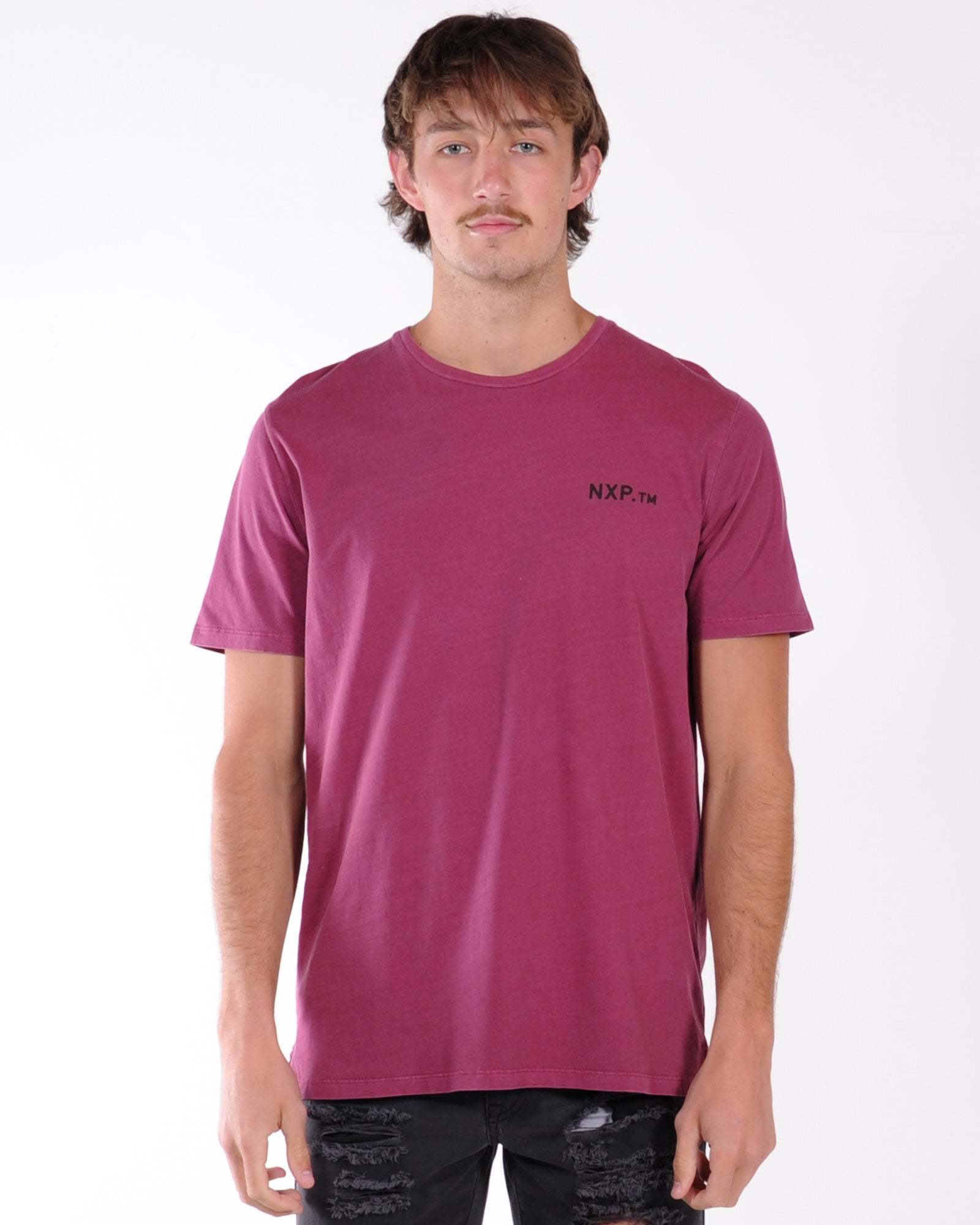 Nena & Pasadena Lost Past Step Hem Tee - Pigment Burgandy