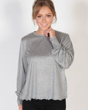 THE FIFTH LABEL WITH EYES WIDE OPEN L/S TOP - CHARCOAL MARLE