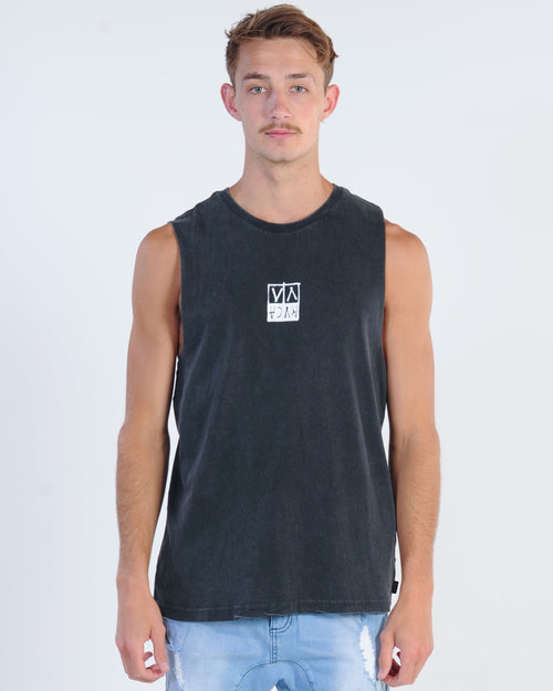 Rvca Unplugged Muscle Top - Black Acid