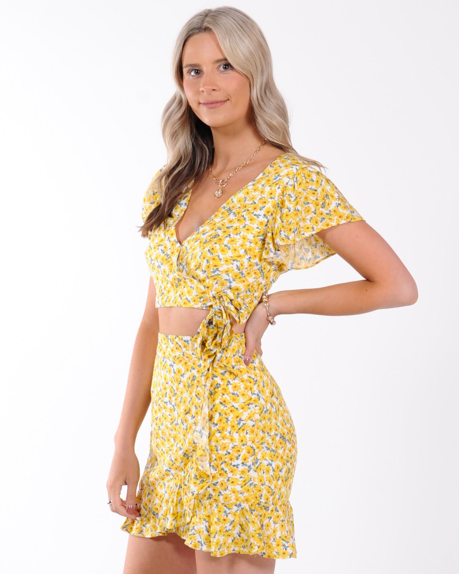 Sunflower Fields Wrap Top - Yellow