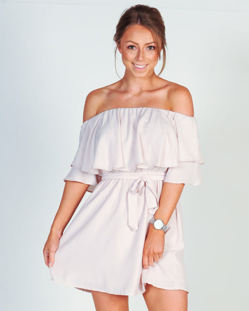 MAY DAY OFF SHOULDER DRESS - BLUSH