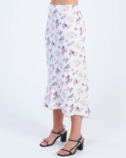 Lost In Paradise Midi Skirt - White Floral