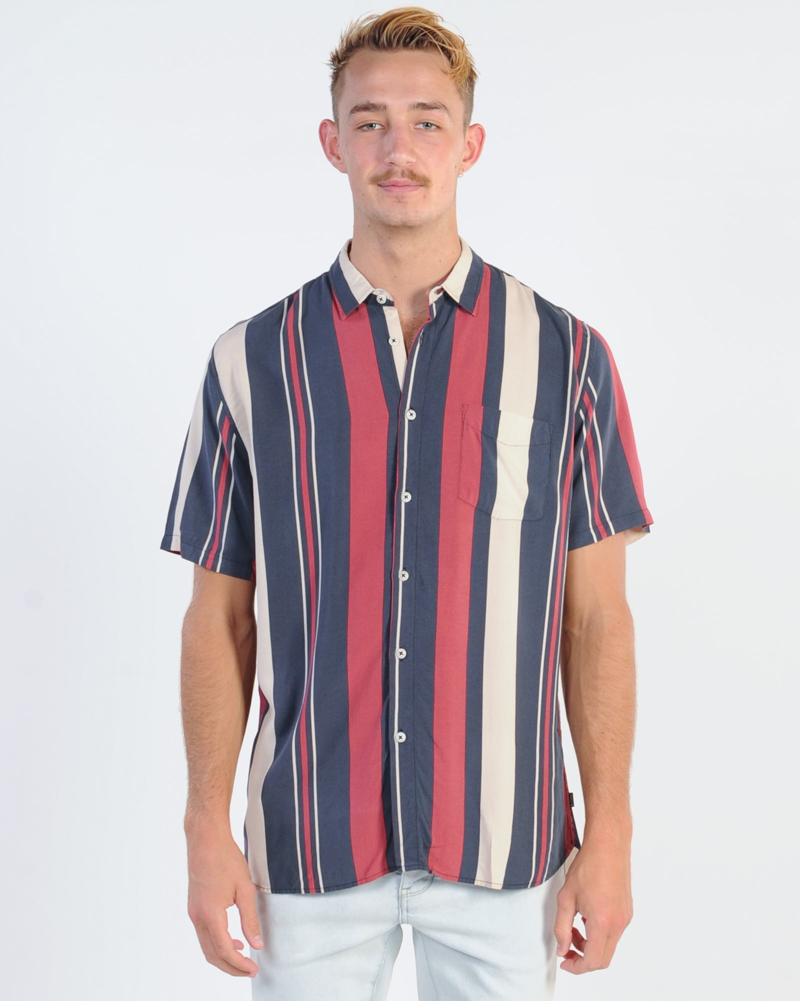 Barney Cools Holiday Vert Stripe S/S Shirt - Red