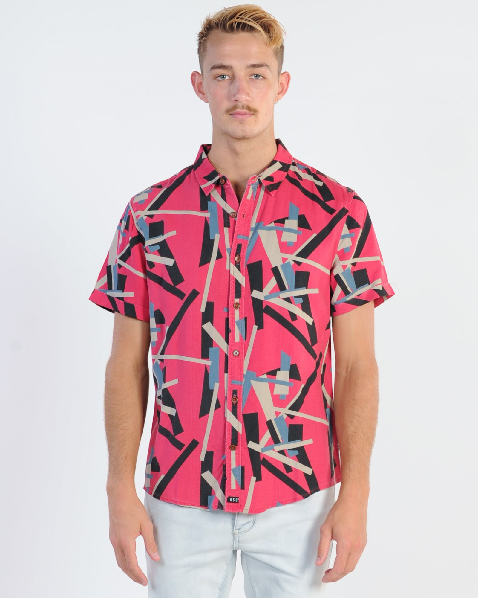 Kiss Chacey Yesterday S/S Print Shirt - Red