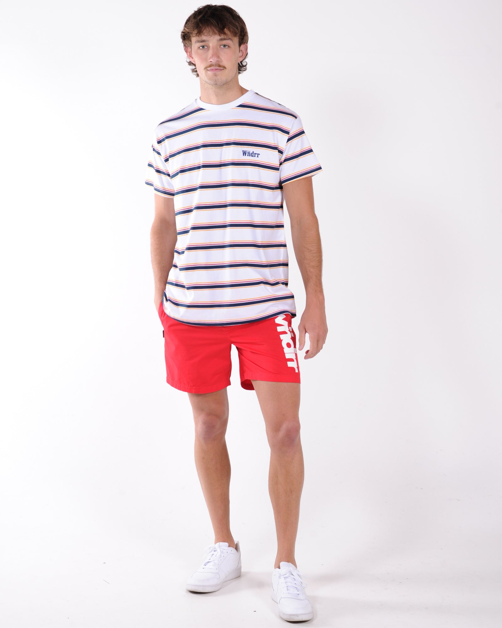 Wndrr Max Stripe Custom Fit Tee - White