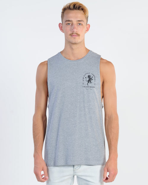 Dtb Supply Lion Heart Muscle Top - Grey Marle