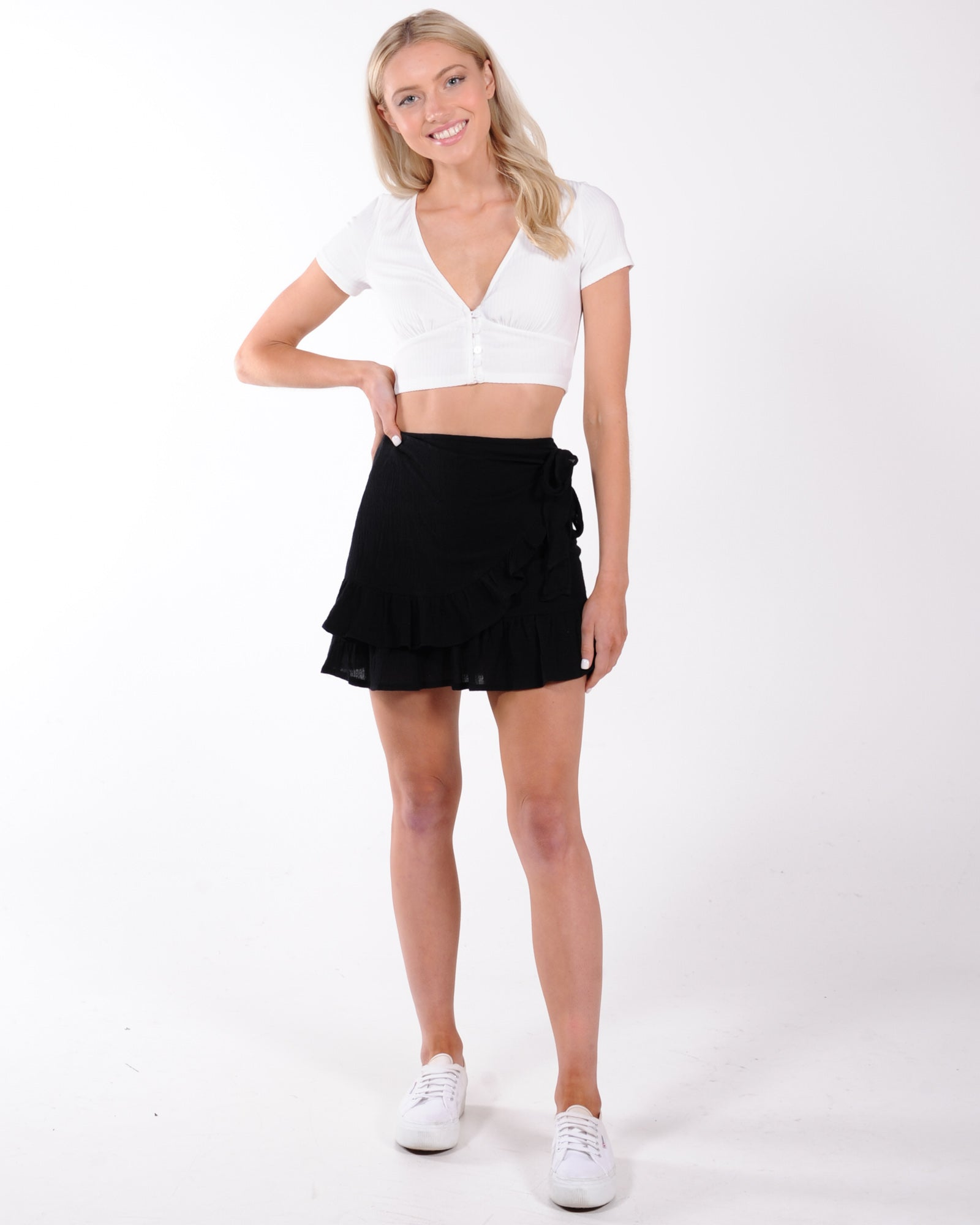Haily Wrap Mini Skirt - Black