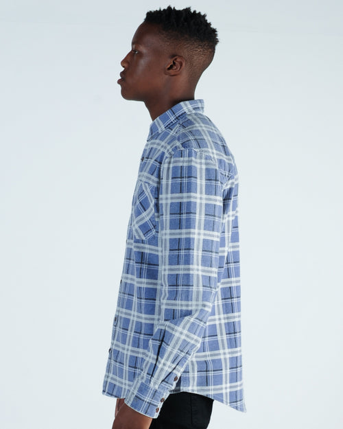 Nena & Pasadena Charge L/S Check Shirt - Blue/Charcoal