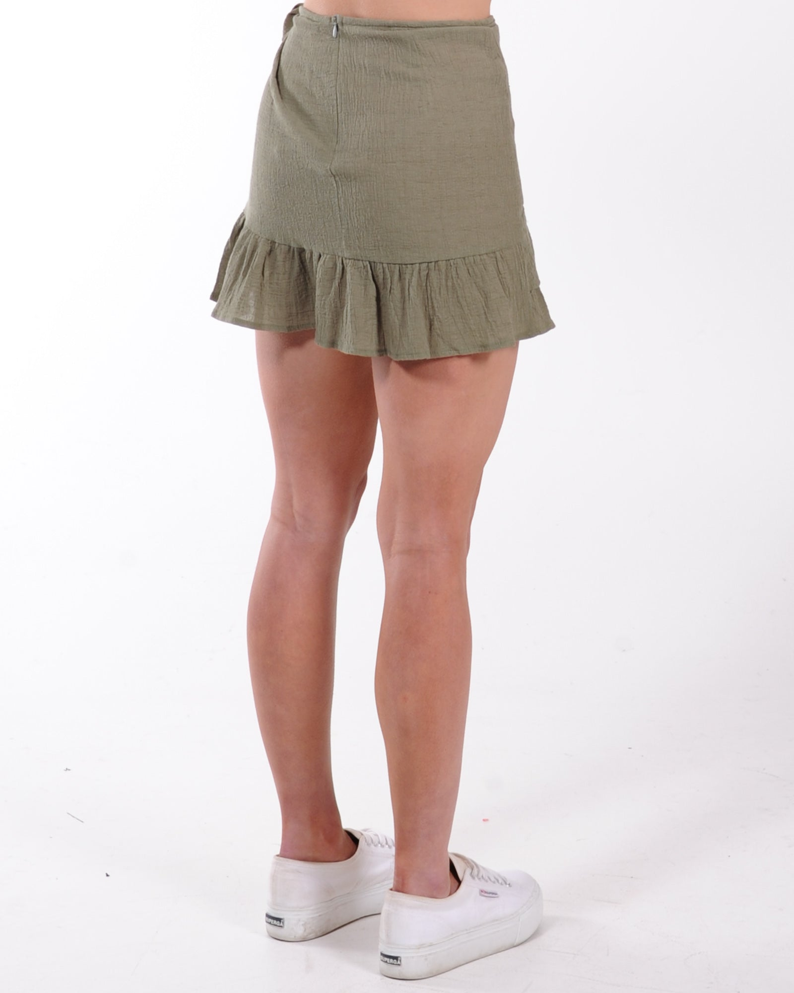 Haily Wrap Mini Skirt - Sage