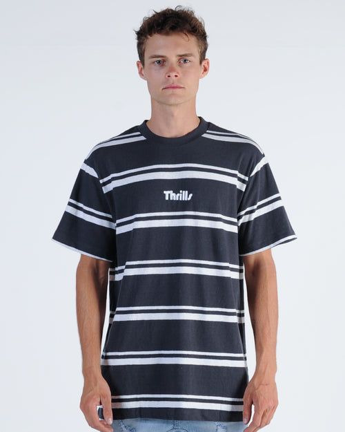 Thrills Val Stripe Tee - Charcoal