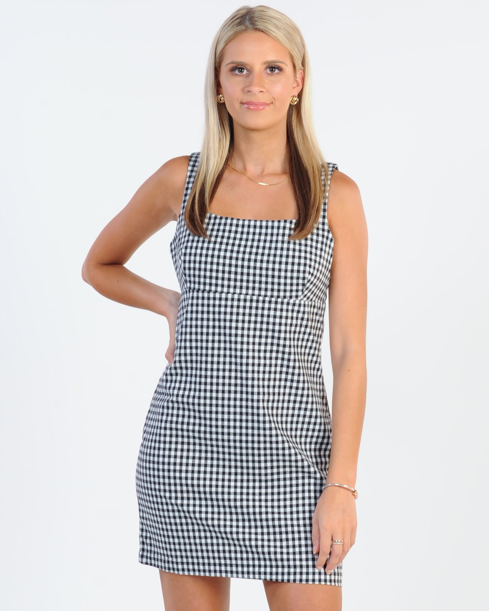 Afends Winona Gingham Mod Dress - Black/White