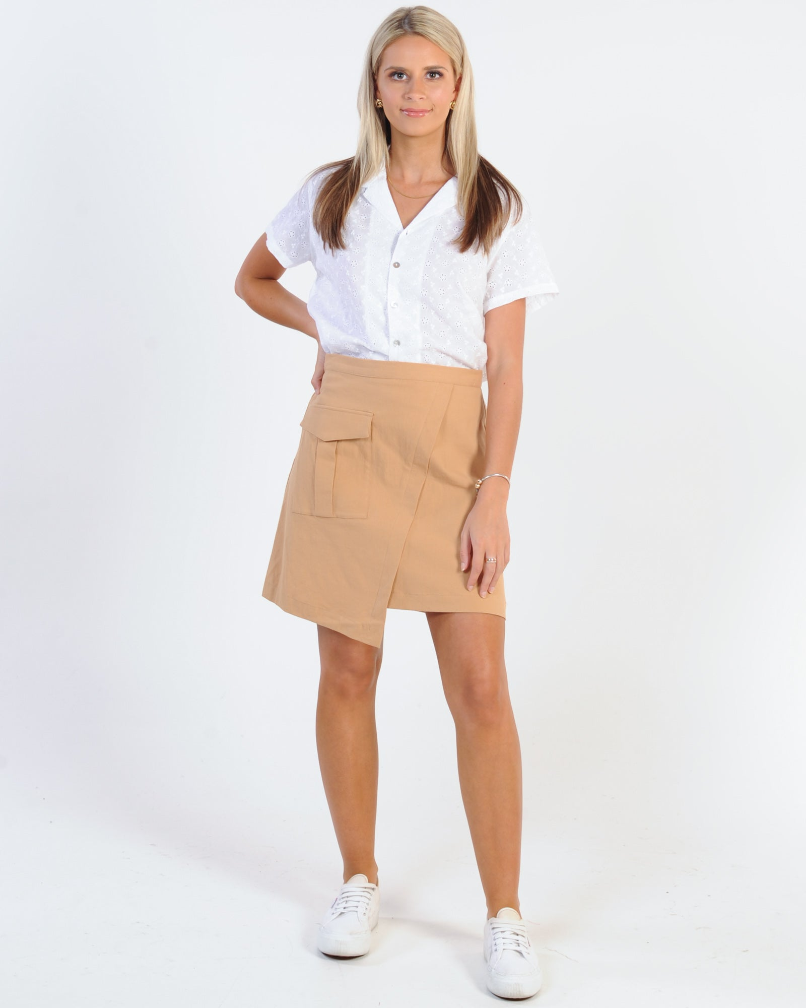 Afends Shannen Anglaise Short Sleeve Shirt - White