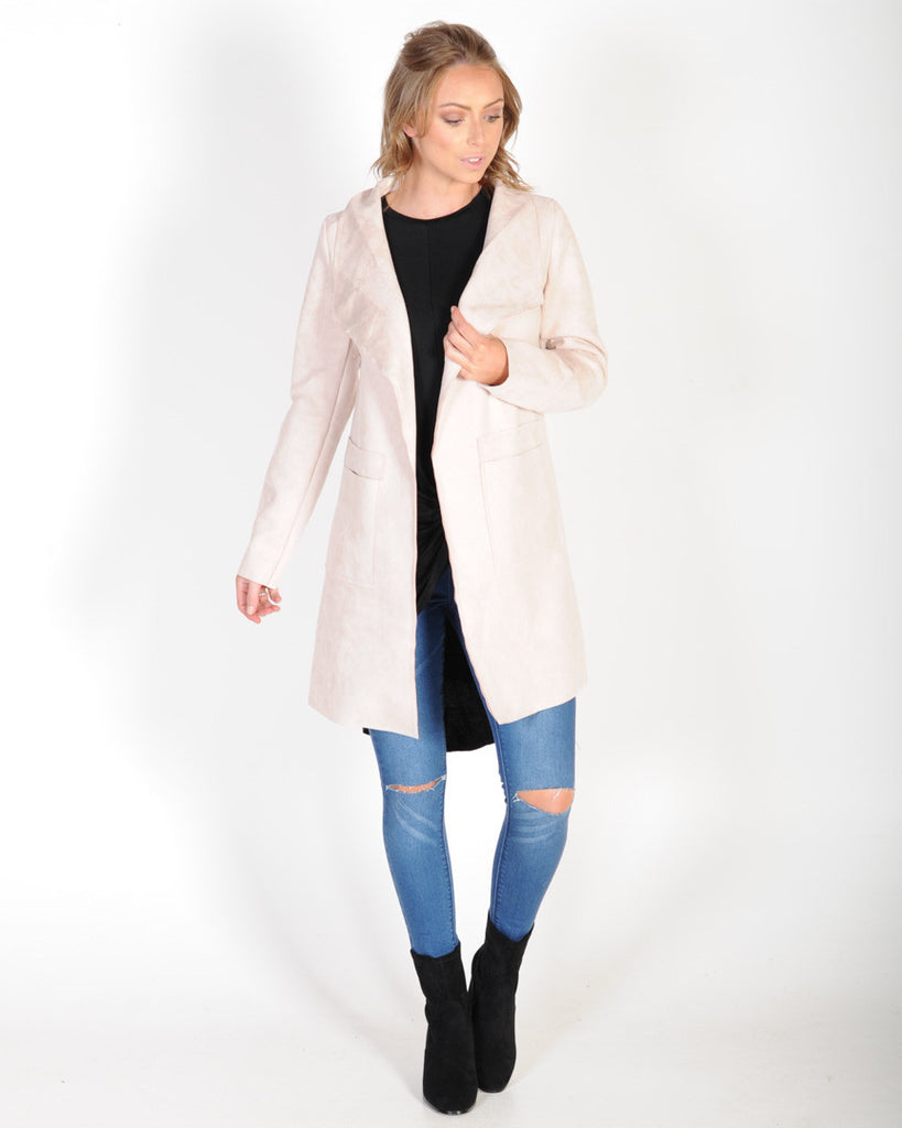 SWEPT AWAY SUEDE JACKET - PALE PINK