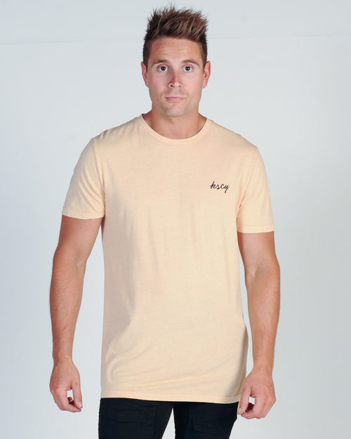KISS CHACEY GOLDEN BEACH TALL TEE - ACID PEACH