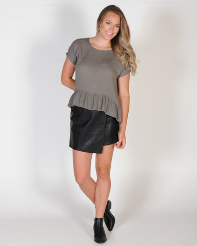 OTTO MODE SOUL FRILL TEE - OLIVE