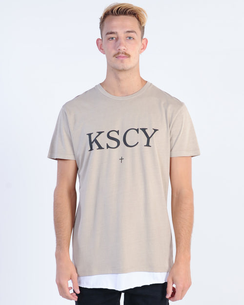 Kiss Chacey Scar Tissue Layered Tee - Pigment Sand