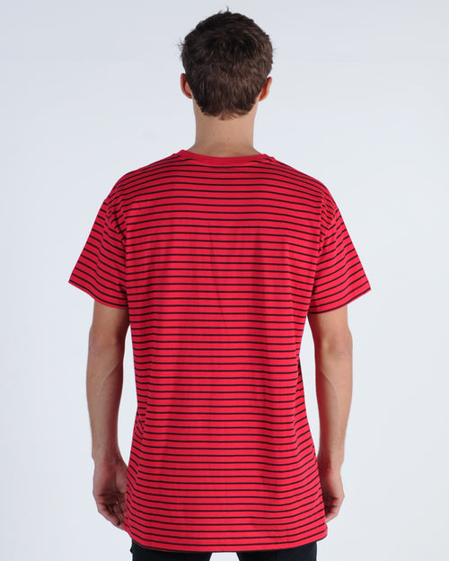 Wndrr Departure Stripe Custom Fit Tee - Red/Black
