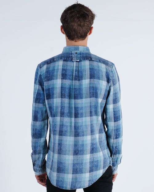 Industrie Forresters L/S Check Shirt - Navy Combo