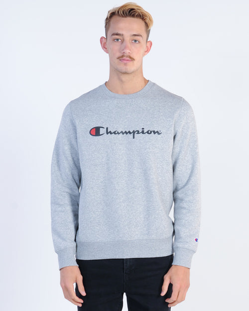 Champion Script Crew Sweat - Grey Marle