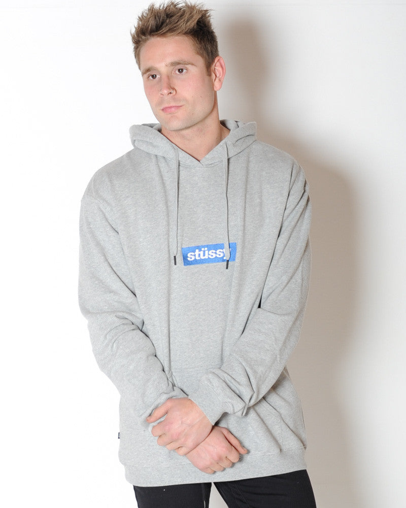 STUSSY BOXED ITALIC HOOD SWEAT - GREY MARLE