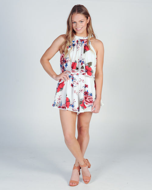 TEA PARTY PLAYSUIT - RED FLORAL