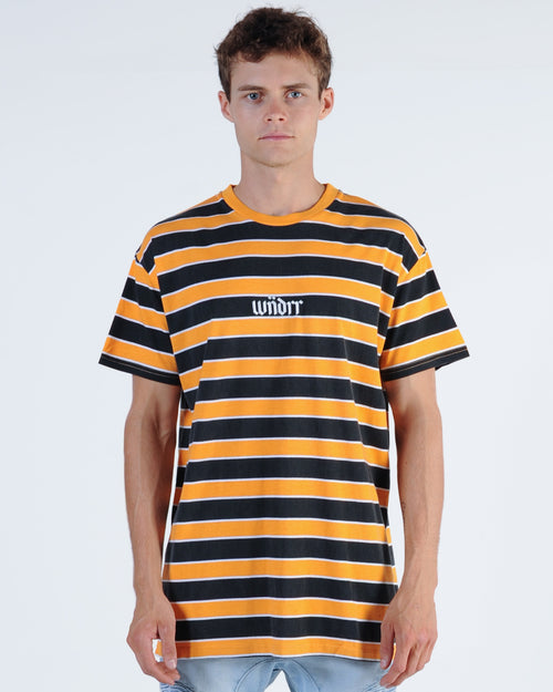 Wndrr Central Stripe Custom Fit Tee - Yellow/Black
