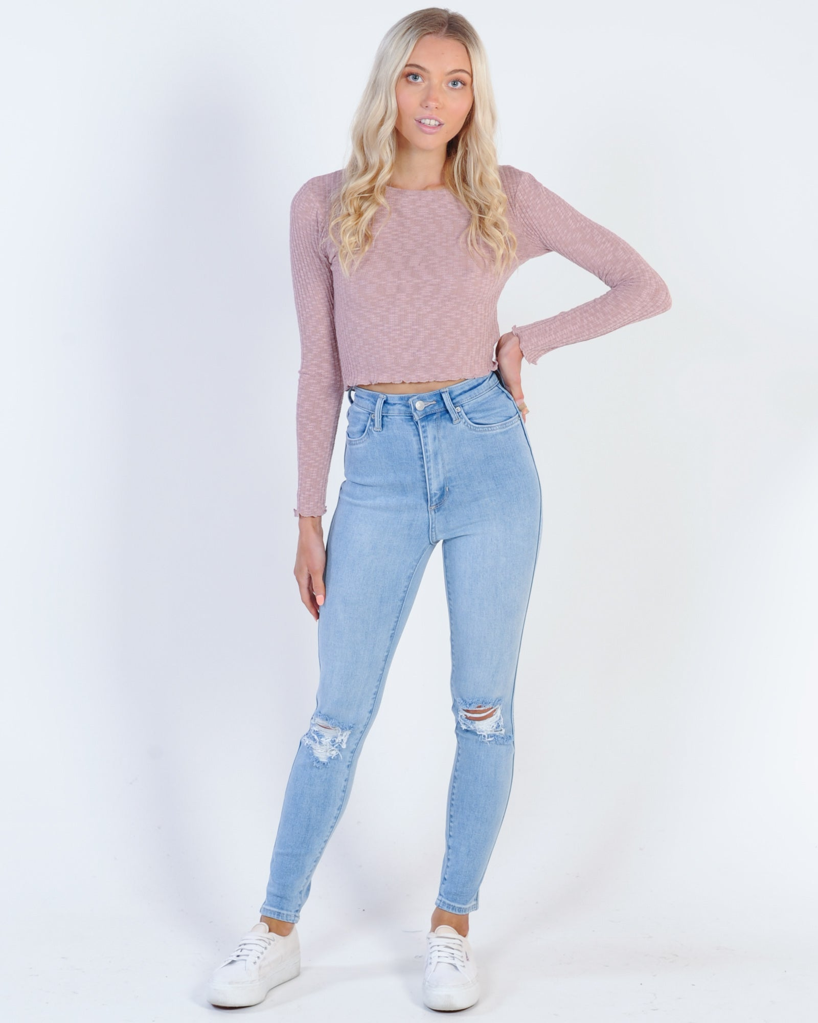 All About Eve Maya L/S Tee - Misty Rose