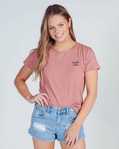 ALL ABOUT EVE MAYBE LATER TEE - PINK