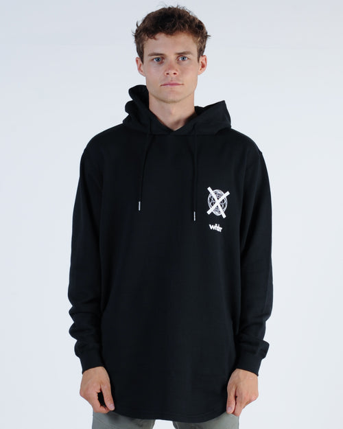 Wndrr Insurgent Curved Hem Hood Sweat - Black