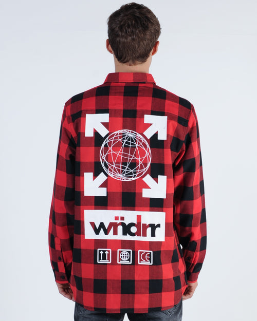 Wndrr Freight L/S Check Overshirt - Red/Black
