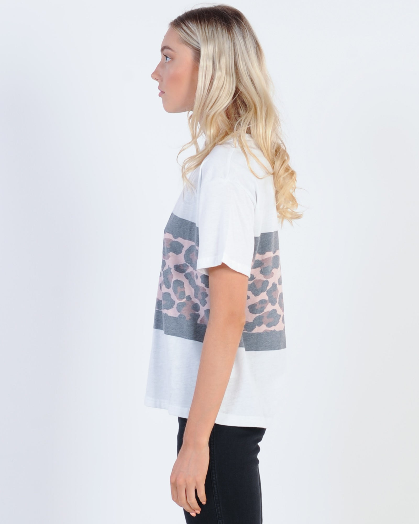 All About Eve Leopard Panel Tee - White