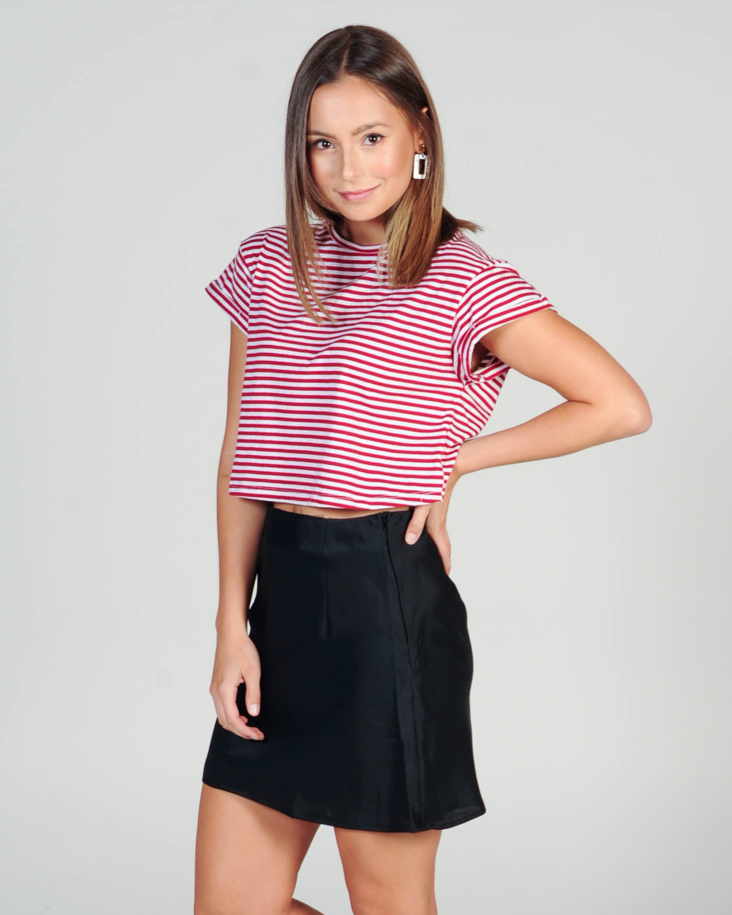 Silent Theory Bite The Bullet Crop Stripe Top - Red/White