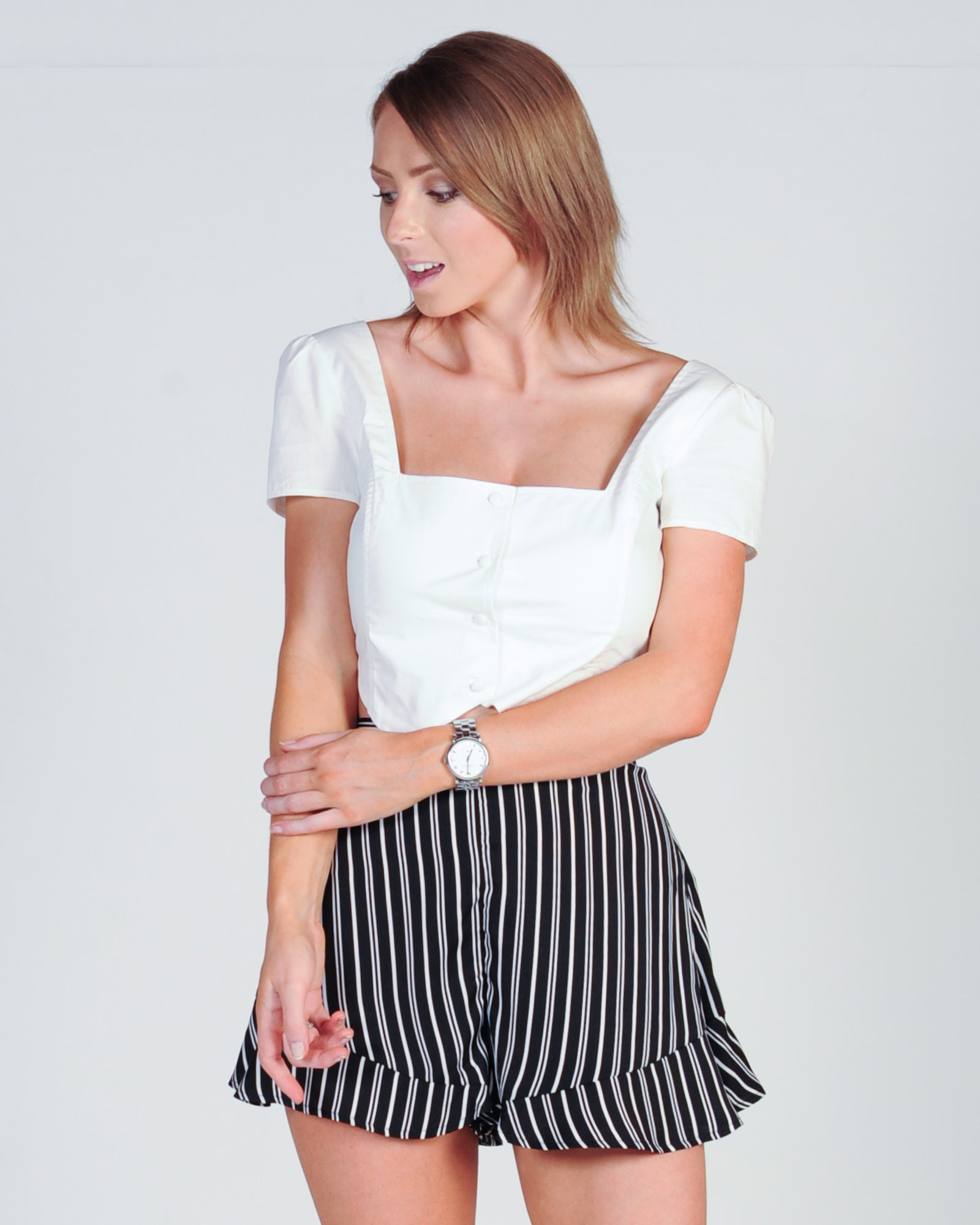 THE FIFTH LABEL OPHELIA STRIPE SHORT - BLACK/IVORY