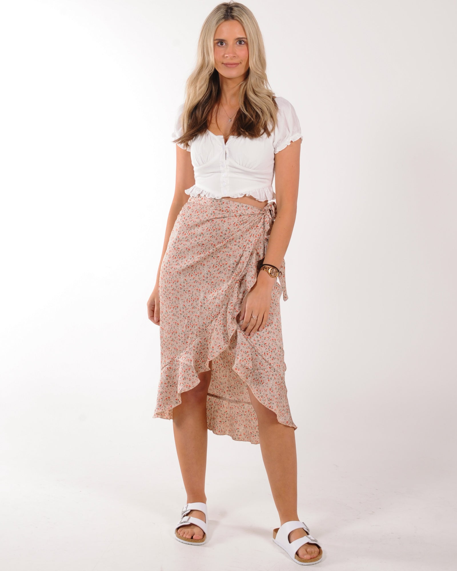 In Your Dreams Midi Skirt - Beige