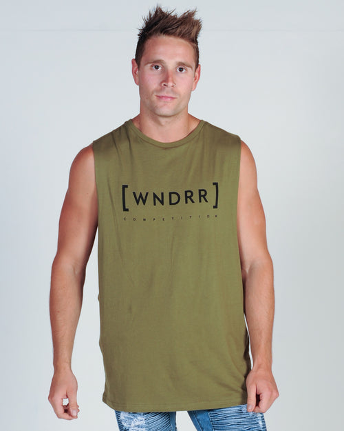 Wndrr Caged Muscle Top - Khaki Green