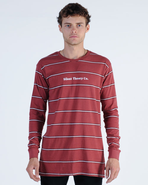 Silent Theory Alley Stripe L/S Tee - Burgundy