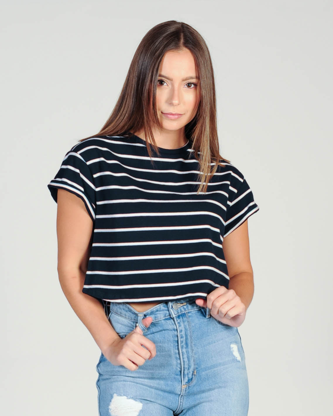 Silent Theory Bite The Bullet Crop Stripe Top - Nav/Whi/Pin