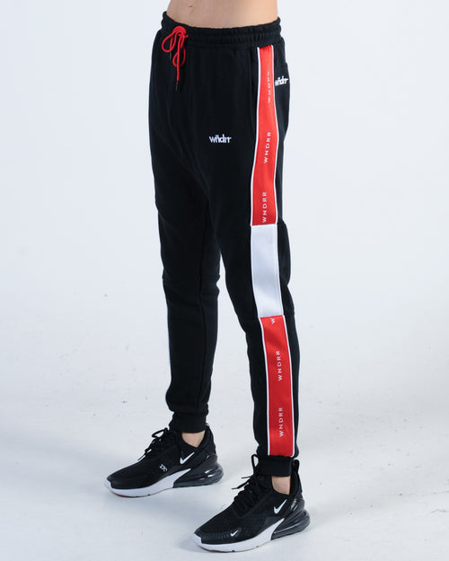 Wndrr Marshall V2 Tech Trackpant - Black/Red/White